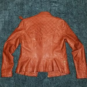 Guess Jackets & Coats - Guess Brown Quilted Faux-Leather Moto Jacket